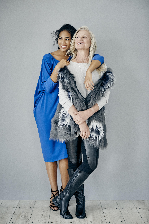 Hopefashion.co.uk AW15 Cobalt Sold Cocoon Dress £95 Gold Lurex Trim Pop On Knit Top £95 Grey Fur Jacquard Gilet £150 Leath Stretch Detail Pant £195