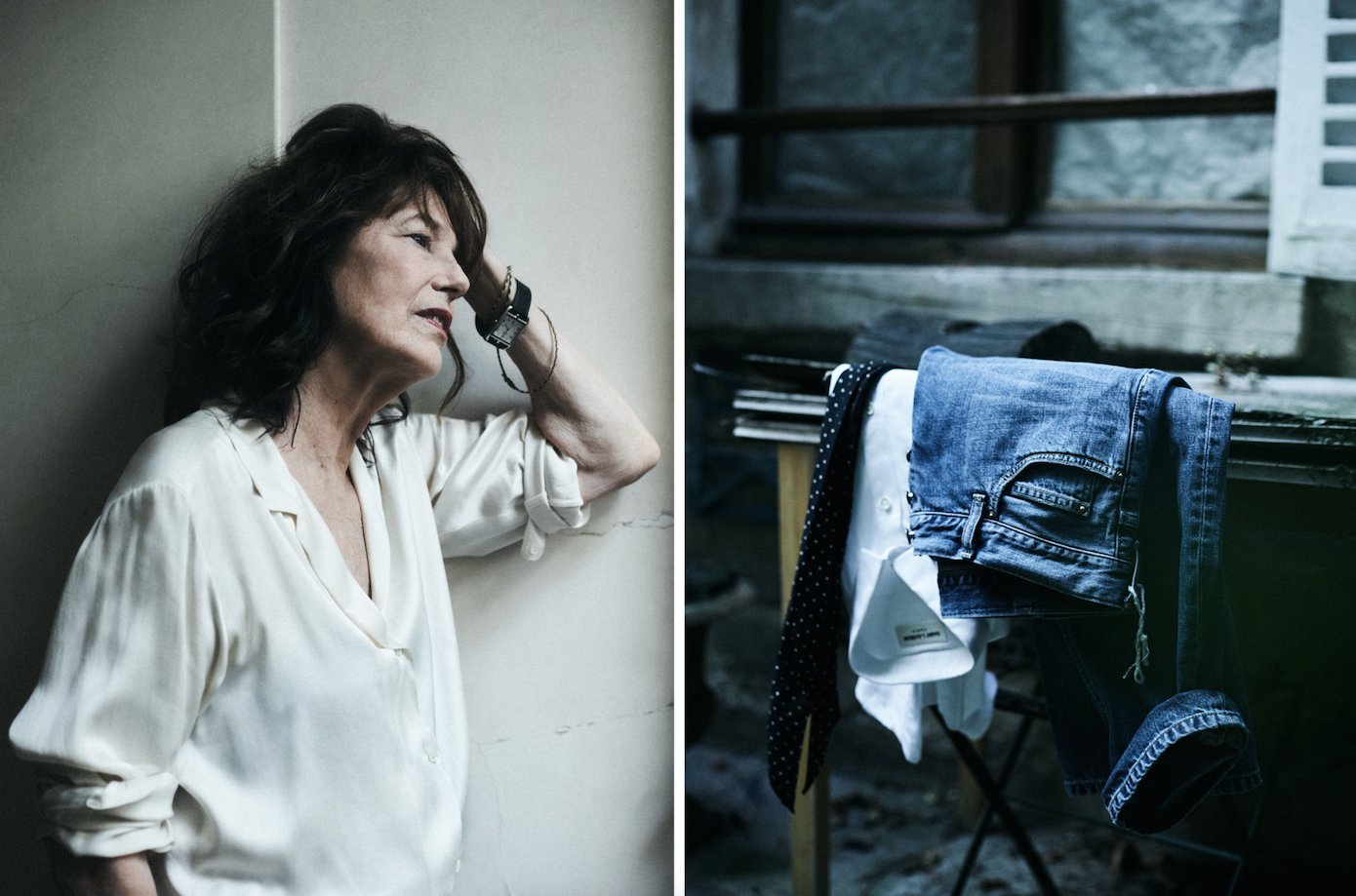 7fe02b140b19 Jane Birkin wears men s cashmere v-neck sweaters and Agnés b silk tops